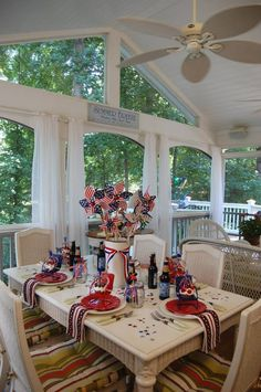 """Deck""adent 4th of July party decor! #porch #July4th #America #redwhiteandblue #decoration"