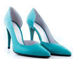 Pantofi stiletto decupati turcoaz - Etienne