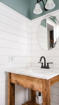 45 Awesome Diy Bathroom For This Summer Ideas - Modern Home Design Downstairs Bathroom, Bathroom Renos, Bathroom Renovations, Bathroom Interior, Home Remodeling, Shiplap Bathroom Wall, Bathroom Wall Ideas, Bathroom Designs, Lake House Bathroom