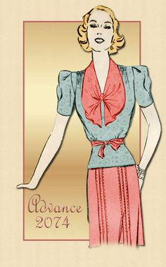 Vintage Dress Pattern Advance 2074 1940s Sophisticated Dress Ensemble