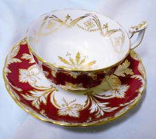 ROYAL CHELSEA RED PINK GOLD WIDE TEA CUP AND SAUCER