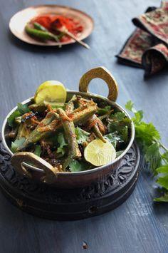 Bhindi Do Pyaza - Okra Stir Fried with Onion....via eCurry....