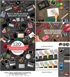 Description: Set of 120+ fully editable objects, 10 color effects and 10 examples for creating mockup scene and headers for your beautiful designs. Free for download. File format: .psd for Photoshop or other software. File size: 208 Mb.