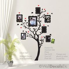 Family Tree Wall Decal with Hearts, Birds, Pictures. No need to purchase ... can paint myself.