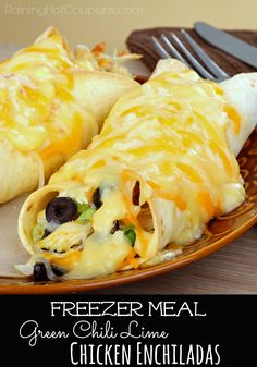 Green Chili Lime Chicken Enchiladas (Freezer Cooking Meal)