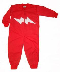 Red onesie with GLOW in the DARK lightning bolt. Onesie + GLOW in the DARK = GLOWSIE = endless amount of fun for children.