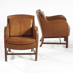 """Kaare Klint PAIR OF """"MIX"""" ARMCHAIRS Cuban mahogany with leather upholstery. Ca. 1930's Manufactured by Rud Rasmussen, Copenhagen."""