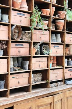 This gives me the idea to build some shelves for my little gardening shed. I like the terra cotta colored boxes.