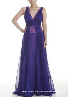 Empire V Neckline Amethyst Chiffon Evening Dress