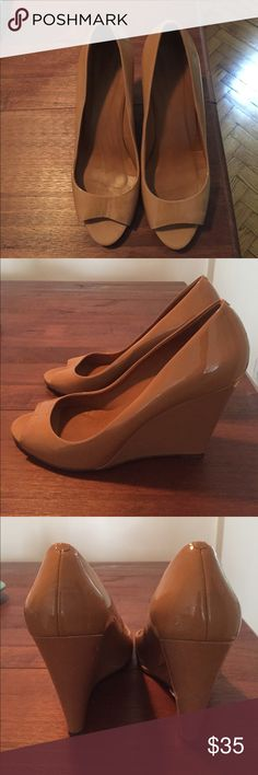 """Madewell 1937 edition nude wedge These are like new! I only wore them once because they are a size too big for me. They are a peep toe shiny nude wedge from Madewell (style 1937). The wedge heel height is 4"""". They go with everything and are great for dressing up, work, or even daytime with jeans. The only marks are on the bottom of the shoe (otherwise they are in perfect condition). Madewell Shoes Wedges"""