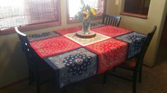 This is perfect for the 4th of July with its red, white & blue! This table cloth measures roughly 60x60. It is perfect to lay straight or diagonal across any surface. These also work perfect to take with you & use for picnic blankets!   *for a custom length or different color choice feel free to send a message & I can create a custom listing for you