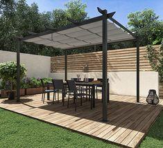 Pérgolas y cenadores de metal · LEROY MERLIN Outdoor Patio Designs, Outdoor Decor, Plot Beton, Sitting Area, Outdoor Living, Living Spaces, New Homes, Backyard, Outdoor Structures