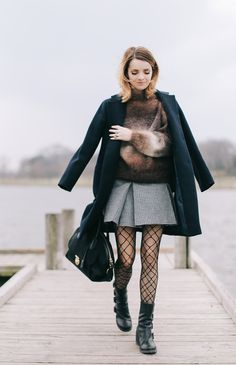 We've had a few windy, cloudy days. I've been in the mood for boots and miniskirts…for me, that is such a go-to outfit formula and beloved look. It's a look…