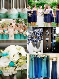 Navy and Aqua/Turquoise wedding I like the idea of the colors not so much the dresses