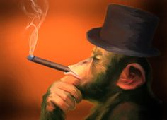 Smoking Monkey Art by James Cattlett Cigar Monkey  by GraphicStuff