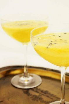 My passionfruit, mando and champagne drink Champagne Drinks, Margarita, Cooking, Tableware, Clock, Kitchen, Watch, Cuisine, Dinnerware