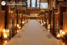Orange Fall Wedding Ceremony Aisle Decorations Candles Orchids Flowers |