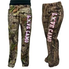 """BuckedUp Raw Edge CAMO lounge pants. Another item from our """"LOVE CAMO"""" collection. APG Realtree Camo with LOVE CAMO down the left leg. Drawstring waist with no"""