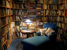 This is a small reading nook we built into our library when we built the house. It's SUCH a cozy place!