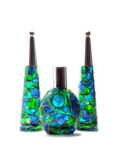 Perfume Bottles, Silver Blue Collection by ColoredGlassByOlia, via Flickr