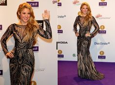 SHAKIRA WEARS ZUHAIR MURAD TO THE 2014 ECHO MUSIC AWARDS  Shakira looked stunning on the red carpet wearing a gown by Zuhair Murad. The long-sleeve nude silk gown featured black beaded embroidery detail throughout, and is from the Fall 2014 Ready-to-Wear Collection