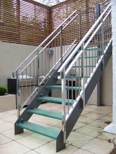 Outside Metal Staircase Silver B A X T E R Outdoor Stairs with dimensions 2048 X 1536 Prefab Metal Deck Stairs - Most sundecks after dark simple BBQ deck