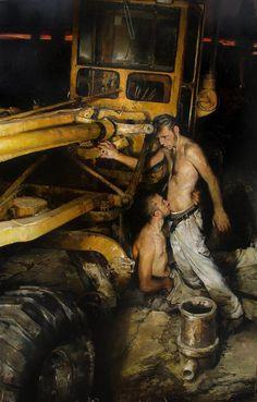 thisblueboy:    Geirrod van Dyke, 2 men, Oil painting