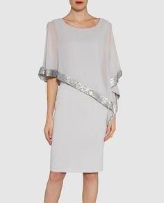 Buy Gina Bacconi Crepe Dress And Sequin Chiffon Cape, Silver Mist from our Women's Dresses range at John Lewis & Partners. Free Delivery on orders over Mom Dress, Dress Up, Short Dresses, Dresses For Work, Women's Dresses, Party Dresses, Contemporary Dresses, Mothers Dresses, Crepe Dress
