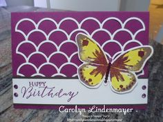Carolyn's Card Creations: Striped Scallop Watercolor Wings Card