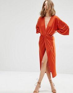 First & I V Neck Midi Dress