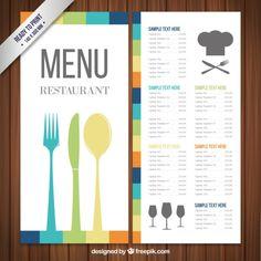 Modelo de menu colorida