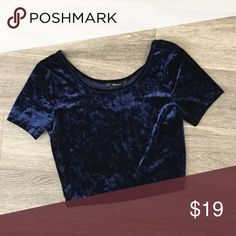 New M velvet navy crop top Brand new Forever 21 Tops Crop Tops