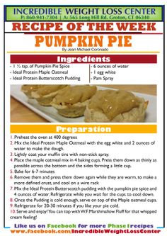 """Good morning #IdealProteinPals!  Another Thanksgiving recipe and with 2 more to come, we assure you, we are trying hard to make you feel like you are not on a diet this Thanksgiving day! This Pumpkin Pie makes 2 servings and 4 little pumpkin pie """"tarts"""" total. So 2 units = 1 serving  *** LIKE, SHARE AND COMMENT*** Please clinics and dieters, share our Thanksgiving recipe album with everyone to guarantee a successful holiday! #Phase1Approved #Thanksgiving #IdealProtein"""