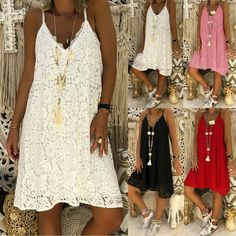 Damen Sommerkleid Kleid Damen Ärmellos Party mit Tasche Spaghetti Träger Strand