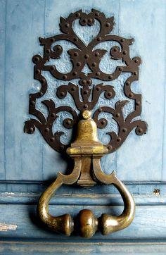 Door hinge in Vincennes Castle, Paris. Love the chisel marks in the wood.
