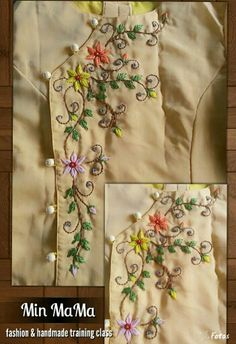 "(stitch embroidery designs by ""Min MaMa"" fashion & handmade training class ) Kurti Embroidery Design, Embroidery Neck Designs, Shirt Embroidery, Embroidery Fashion, Hand Embroidery Patterns, Ribbon Embroidery, Cross Stitch Embroidery, Machine Embroidery, Sewing Patterns"