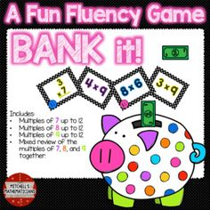 This fun interactive game will have your students cheering for more while they are learning their times tables.   Concepts covered: Bank it game with just multiples of 7 up to 12, multiples of 8 up to 12, and multiples of 9 up to 12.  You kids will be begging to play again.