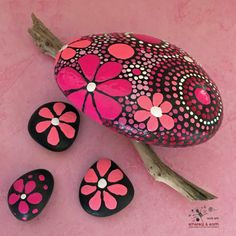 FREE SHIPPING!  Hand Painted River Rock - pink persuasion collection #20 4 X 3.5 x 1 - Total Weight - 16 ounces  Mandala Inspired Design -