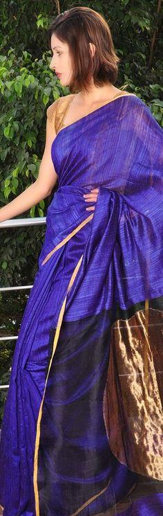 Raw silk saree - Traditional drapes by Vaya and Bai Lou - original pin by @webjournal