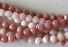 Opal gemstone beads. Pink opal 6mm plain round beads, gorgeous natural pink…
