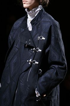 Dries Van Noten | Fall 2014 | patterned leather and heavy buckle. #mizustyle