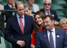 Family day out: Sophie Wessex (pictured behind) rose as William and Kate made their way into the Royal Box