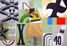 Love these abstract type-based paintings by Harold Hollingsworth.