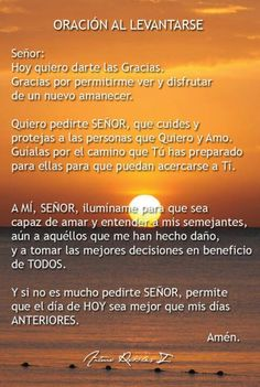 by ann God Prayer, Power Of Prayer, Spanish Prayers, Inspirational Prayers, Healing Words, Good Morning World, Goog Morning, Spiritus, Motivational Phrases