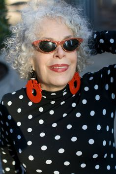 Gray Hair, sunglasses AND Big Jewelry. You know I love this lady!   ADVANCED STYLE: Marilyn Sokol in Polka Dots