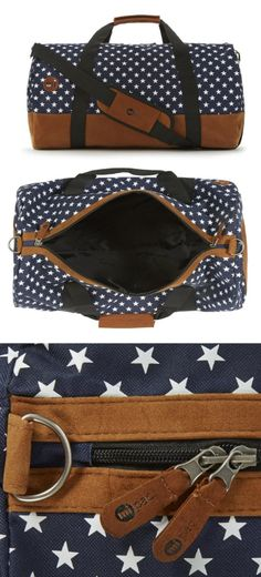 Navy Blue and White Star Printed Duffel Bag
