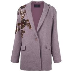 Etro Sequined Ribbed Cardi-Coat ($2,310) ❤ liked on Polyvore featuring outerwear, coats, sequin coat, purple coat, etro coat and etro
