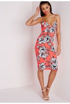 Maggy Neon Coral Floral Strappy Midi Dress