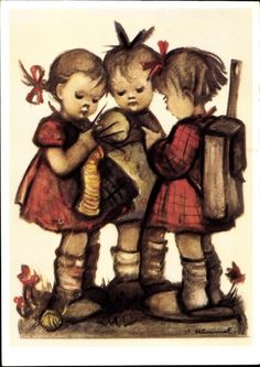 Artist Postcard Hummel, Meisterstück, Kinder beim Stricken, 62 1197