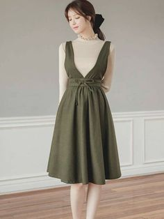 Over all dress color Army # Casual Outfits indian simple Stylish Dresses, Simple Dresses, Cute Dresses, Vintage Dresses, Casual Dresses, Casual Outfits, Hijab Casual, Korean Girl Fashion, Muslim Fashion